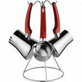 Cezve Takımı Çelik 3 Lü Set Askılı Yeni Model