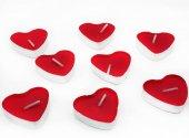 25 Adet Kalpli Tealight Mum Kırmızı Kalp Şeklinde Mum