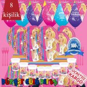 8 Kişilik Barbie Doğum Günü Parti Malzemeleri Süsleme Seti