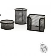 Linea Metal Kalemlik Seti Fileli Masa Üstü 3lü Set Siyah