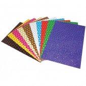 Lino 50x70 Cm Üçgen Desenli Simli Kağıt 10 Renk 10 Adet