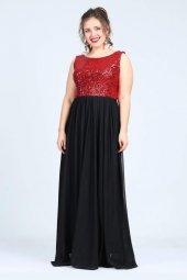 Büyük Beden Payetli Şifonlu Uzun  Elbise KL7885-4