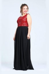 Büyük Beden Payetli Şifonlu Uzun  Elbise KL7885-5