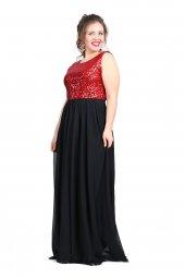 Büyük Beden Payetli Şifonlu Uzun  Elbise KL7885-2