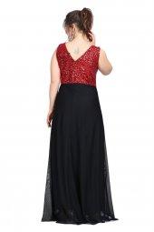 Büyük Beden Payetli Şifonlu Uzun  Elbise KL7885-3