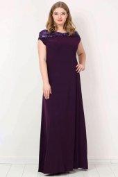 Büyük Beden Öpücük Yaka Payetli Likralı Uzun Abiye Elbise KL126P-5