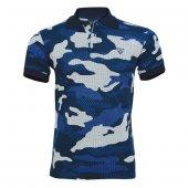 4018 Lacivert Kamuflaj Kısa Kol T-Shirt M