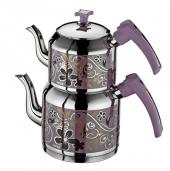Inter Çelik Sahra Lila Dekorlu Mini Boy Çaydanlık
