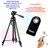 Nikon D3000 140cm Profesyonel Tripod + ML-L3 Kumanda