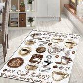 Mutfak Halısı Kaymaz Taban Fincan Desenli İ S19 Cafe 100x140