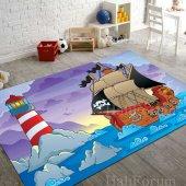 çocuk Odası Halısı Modelleri Kaymaz Korsan Denizci İ B982 100x140