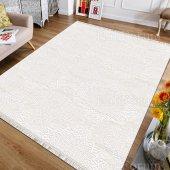 Dekoratif Saçaklı Halı Düz Renk Kırık Beyaz Klasik İ S41 80x140