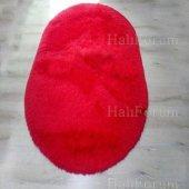 Tavşan Tüyü Peluş Halı Oval Kırmızı Renk Doğuş Post Halı 140x200