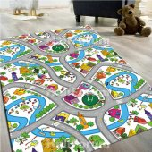 çocuk Halısı Modelleri Trafik Yollu Oyun Halısı Doğuş D53 140x200
