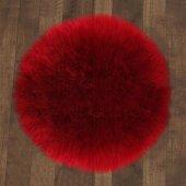 Kuzu Post Halı Yuvarlak Premium Kalite 150x150 Kırmızı