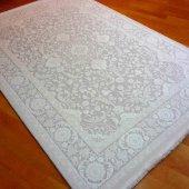 Düz Renk Salon Halısı Beyaz Triko İplik P Sezen 5218a 120x170
