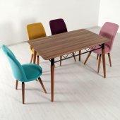 Evform 4 Sandalyeli Karışık Renkli Mutfak Salon Yemek Masa Takımı-2