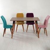 Evform 4 Sandalyeli Karışık Renkli Mutfak Salon Yemek Masa Takımı-3