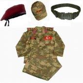 Bordo Bereli Erkek Çocuk Asker Komando Kıyafeti Ko...