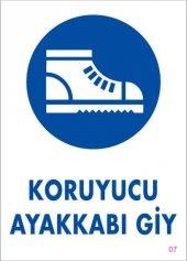 Koruyucu Ayakkabı Giy Uyarı Levhası 25x35 Kod 7