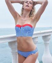 Angelsin Mavi Cizgili Şık Bikini Takım-2