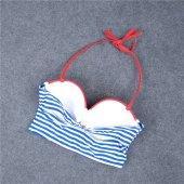 Angelsin Mavi Cizgili Şık Bikini Takım-4