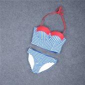 Angelsin Mavi Cizgili Şık Bikini Takım-7