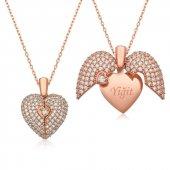 Gizli Aşk İsim Yazılı Kalp Gümüş Kolye