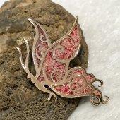Mozaik Sanatı Kırmızı Mercan Otantik Kelebek...