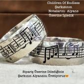 Müzik Notalı Gümüş Alyans Yüzük