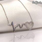 Kalp Ritmi Harika Tasarım Gümüş Kalp Kolye