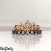 özel Kalite Kraliçe Tacı Gümüş Bayan Yüzük...