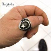 Ayyıldız İşlemeli Zihgir Okçu Yüzüğü Gümüş...