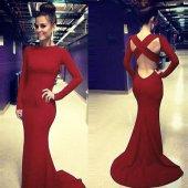 Kadın Sırtı Açık Kırmızı Abiye Elbise