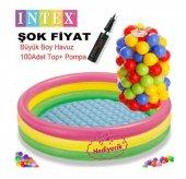 Intex Oyun Havuzu Şişme Taban 100 Adet Oyun Topu +pompa Şişme Havuz Bebek Havuzu