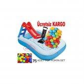 Intex 57403 Şişme Çocuk Havuzu Kaydırak + 100 Adet Oyun Topu + Pompa Hediye 1 3 Yaş Bebek Havuzu