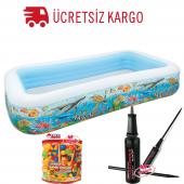 Intex Çocuk Havuzu 100 Adet Top Ve Pompa Hediyeli Balık Desenli Şişme Havuz,oyun Havuzu,bebek Havuzu