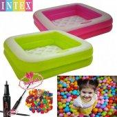 Intex 57100 Şişme Tabanlı Kare Çocuk Havuzu 100 Adet Oyun Topu Ve Pompa Hediye Şişme Havuz 83x83