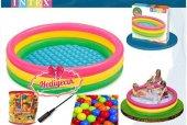 Intex 3 Boğumlu Şişme Oyun Havuzu+7 Ml Büyük Boy Renkli Oyun Topu+el Pompası+kargo Ücretsiz