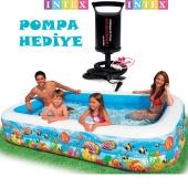 Intex 58485 Balık Desenli Şeffaf Aile Havuzu 305x183x56cm Bebek Havuzu,çocuk Havuzu,şişme Havuz,oyun Havuzu