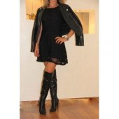 Japon Style Dantel Siyah Elbise
