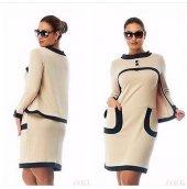 Kadın 3 Düğme Krem Elbise