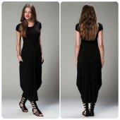Kadın Kısa Kol Siyah Şalvar Elbise