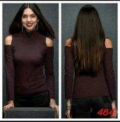 Kadın Omuz Detay Bordo Bluz