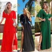 Kadın Yeşil Dokuma Uzun Elbise