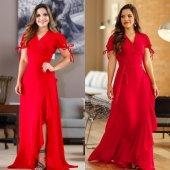 Kadın Kol Bağlı Kırmızı Uzun Elbise