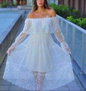 Kadın Beyaz Astar Tül Güpür Elbise