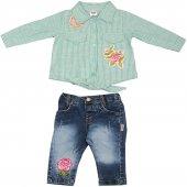 2 Parça Kot Pantolon Çiçek Nakışlı Çizgili Gömlek Takım