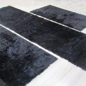 Tavşan Tüyü Post Halı Yatak Odası Halısı Üçlü Takım Doğuş Siyah