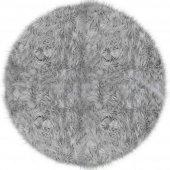 Yuvarlak Kuzu Post Halı Modelleri Doğuş Peluş Gri 150x150